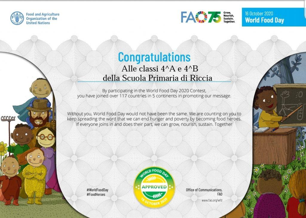 Certificato di partecipazione classi quarte Scuola Primaria Riccia